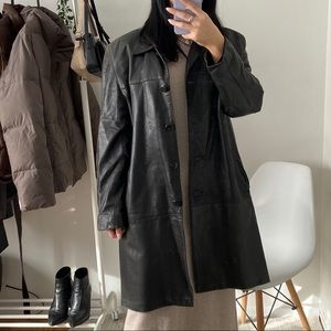 VINTAGE Leather Longline Jacket